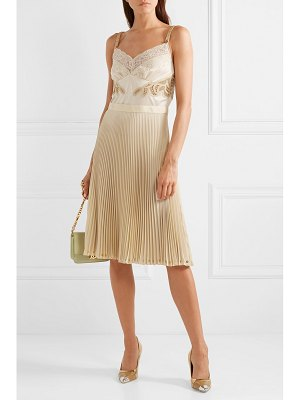 Burberry lace and leather-trimmed satin and pleated crepe de chine dress
