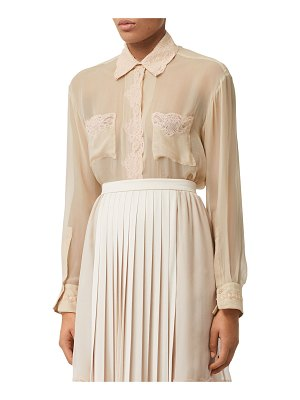 Burberry Lace-Trim Silk Chiffon Button-Front Shirt