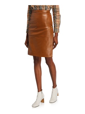 Burberry Leather Button-Side Skirt