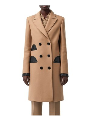 Burberry leather pocket double breasted coat