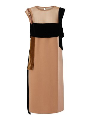Burberry leather strap contrast panel silk shift dress