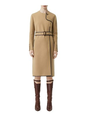 Burberry leather trim long sleeve trench dress