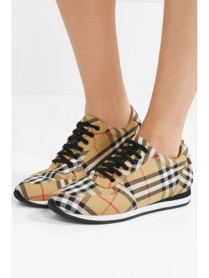 Burberry leather-trimmed checked canvas sneakers