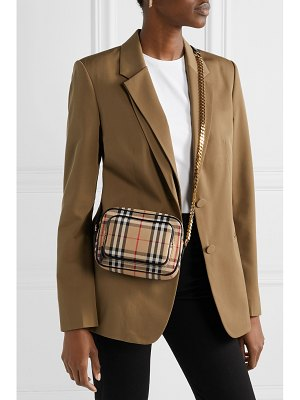 Burberry leather-trimmed checked cotton-canvas shoulder bag