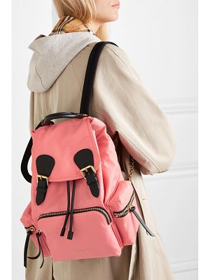Burberry leather-trimmed gabardine backpack