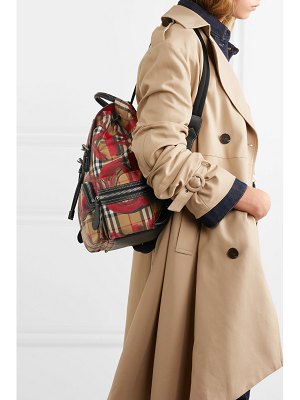 Burberry leather-trimmed printed gabardine backpack