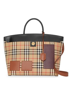 Burberry medium society vintage check top handle bag