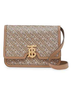 Burberry medium tb monogram-print leather shoulder bag