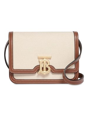 Burberry Mini tb canvas & leather shoulder bag