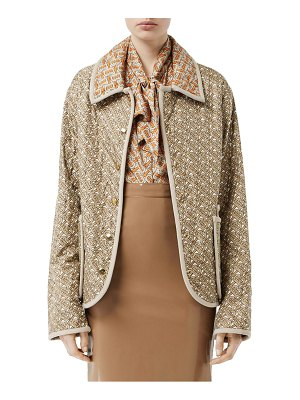 Burberry monogram logo print quilted silk jacket