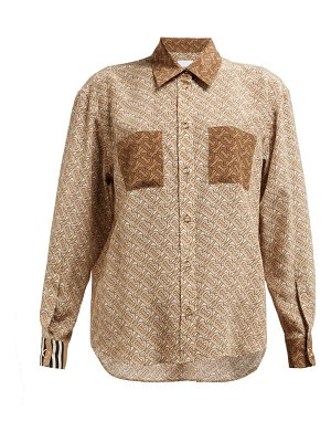 Burberry monogram print silk georgette blouse