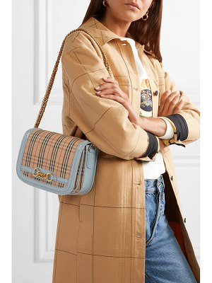 Burberry patent leather-trimmed checked canvas shoulder bag