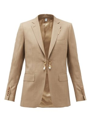 Burberry pearl-charm single-breasted wool-blend jacket