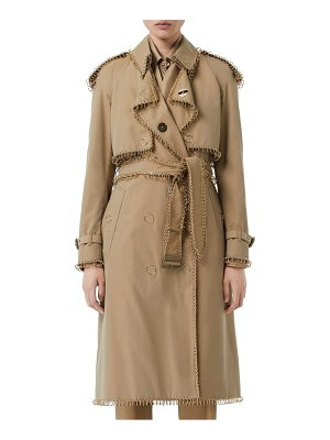 Burberry pierced double breasted cotton trench coat