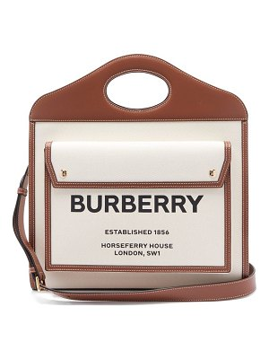 Burberry pocket medium horseferry logo-print canvas handbag
