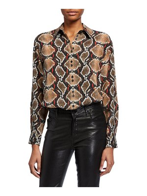 Burberry Carlota Python-Print Silk Button-Front Shirt