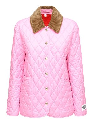 Burberry Quilted buttoned short jacket w/ logo