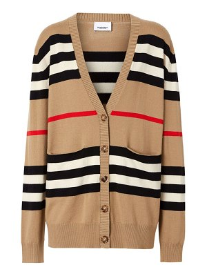 Burberry scioto icon sripe v-neck wool cardigan