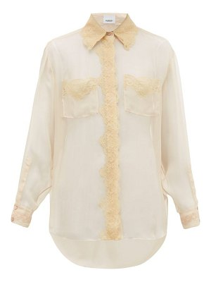 Burberry shelly lace trimmed mulberry silk chiffon blouse