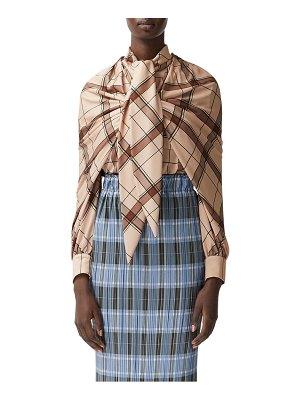 Burberry shoulder detail plaid blouse