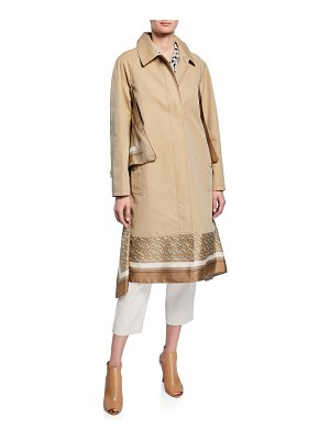 Burberry Silk Scarf-Trim Gabardine Car Coat