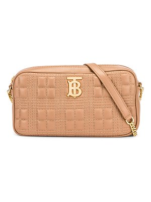 Burberry small leather quilted check elongated camera bag