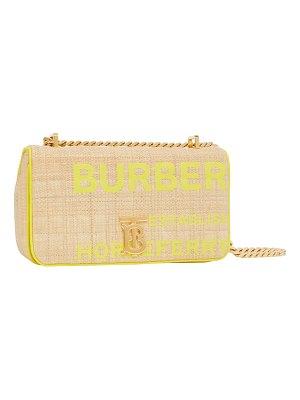 Burberry small lola horseferry print quilted raffia bag