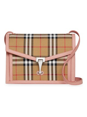 Burberry small macken leather & vintage check crossbody bag
