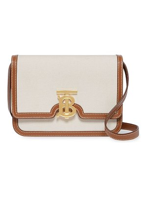 Burberry small tb canvas & leather shoulder bag