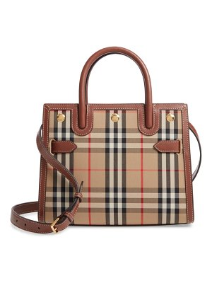 Burberry small title double handle leather & canvas bag