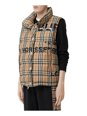 Burberry sterling horseferry print vintage check down puffer vest