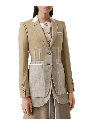 Burberry tape detail mix media blazer
