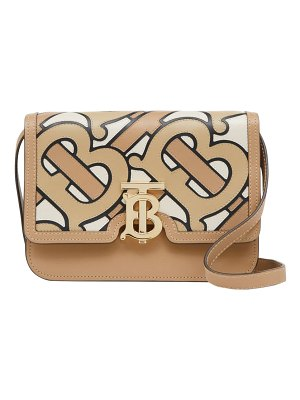 Burberry tb pieced monogram leather shoulder bag