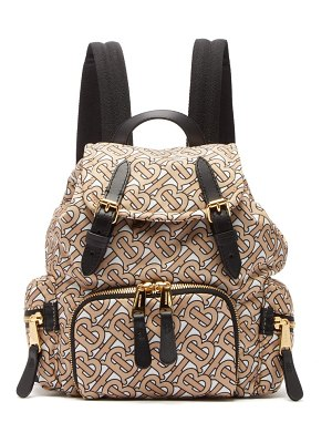 Burberry tb print mini leather trimmed backpack
