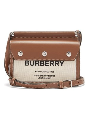 Burberry title mini horseferry logo-print leather bag