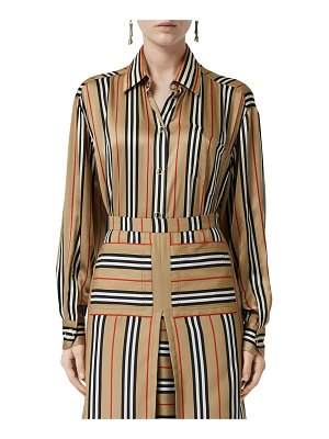 Burberry Vertical check printed silk twill shirt