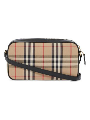 Burberry vintage-check leather-trim canvas cross-body bag