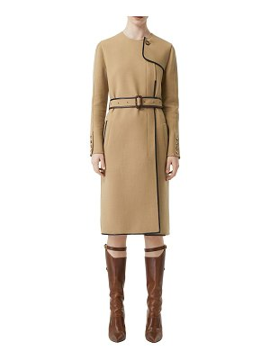 Burberry Wool blend coat w/ leather details