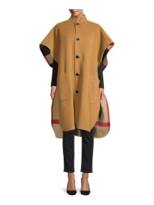 Burberry woven wool-blend check-lined cape