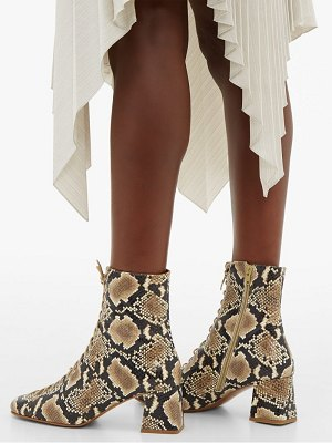 by FAR becca lace up python effect leather ankle boots
