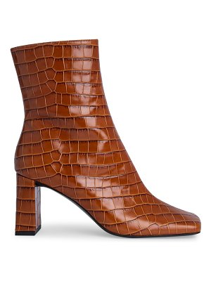 by FAR celine square-toe croc-embossed leather ankle boots