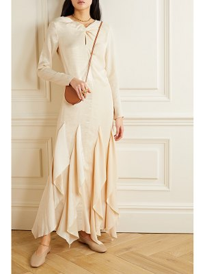 By Malene Birger ebonee twist-front ruffled paneled crinkled-satin and crepe dress