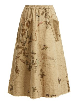 BY WALID Hazy Jungle Print Cotton Canvas Skirt