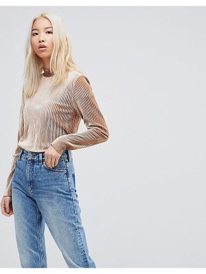 B.YOUNG High Neck Velvet Stripe Top