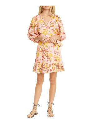 byTiMo floral ruffle puff sleeve wrap dress