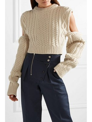 CALVIN KLEIN 205W39NYC cold-shoulder cropped cable-knit wool-blend sweater