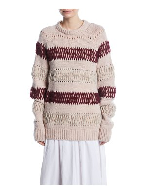 CALVIN KLEIN 205W39NYC Crewneck Floating-Knit Cross Stitch Wool Sweater