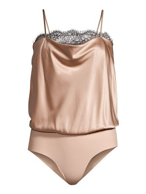CAMI NYC romy lace trimmed draped silk bodysuit