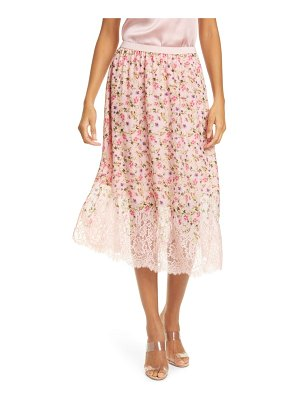 CAMI NYC the quana lace trim floral silk skirt