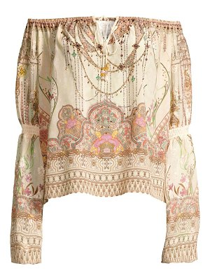 Camilla la fleur libertine off-the-shoulder silk peasant blouse